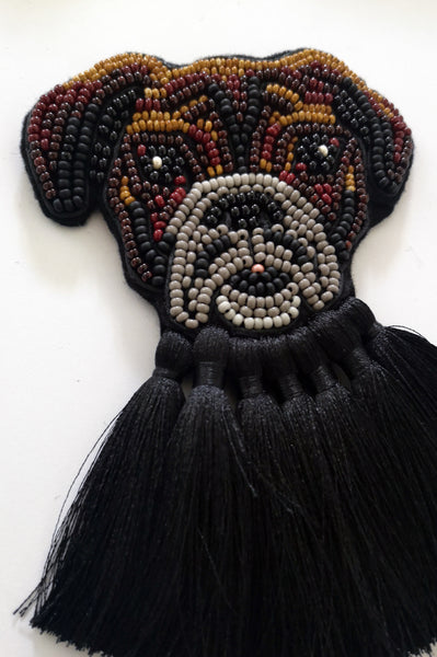 Boxer Dog Oversized Brooch with Black Tassels