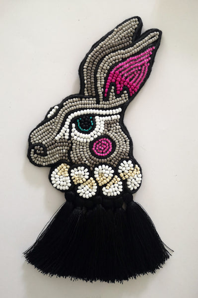Alice in Wonderland Inspired Oversized Pin Mad March Hare Portrait with Black Tassels.