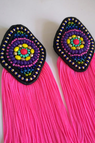 Colorful and super bright South America inspired Rhombus Earrings with Neon Pink Fringe