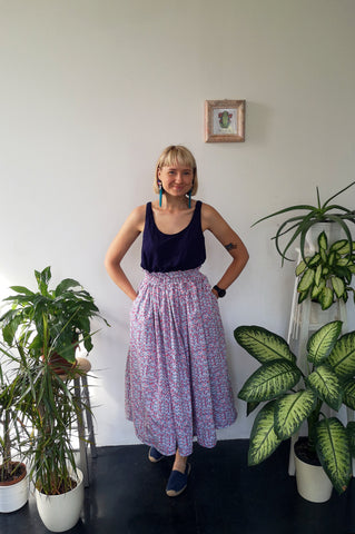 Wonderful, Feminine and Super Versetile Minimalist Lifestyle patterned Midi Cotton Skirt!
