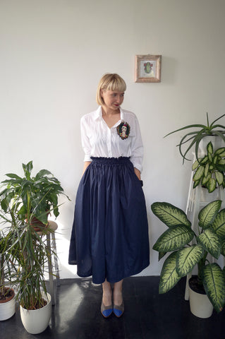 Wonderful, Feminine and Super Versetile Minimalist Lifestyle Blue Midi Cotton Skirt!