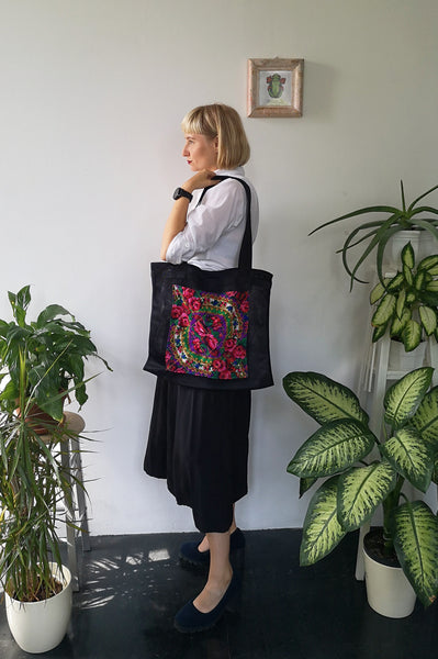 "Oversized and Colorful Statement ""Pillow"" Bag with Upcycled Eastern European Rose Pattern Scarf Pocket"