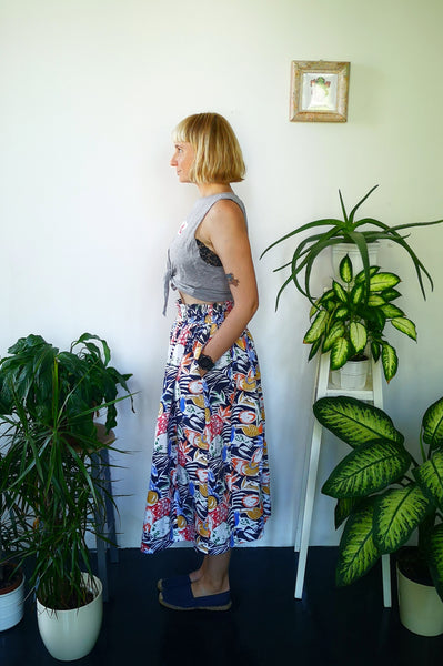 Wonderful, Feminine and Super Versetile Minimalist lifestyle Floral Jungle Print Linen Skirt!