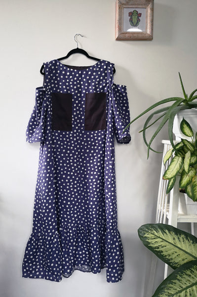 Pigeon Blue Polka Dot Midi Long Linen Dress with Cold Shoulder Detail, 3/4 Sleeves and Ruffle