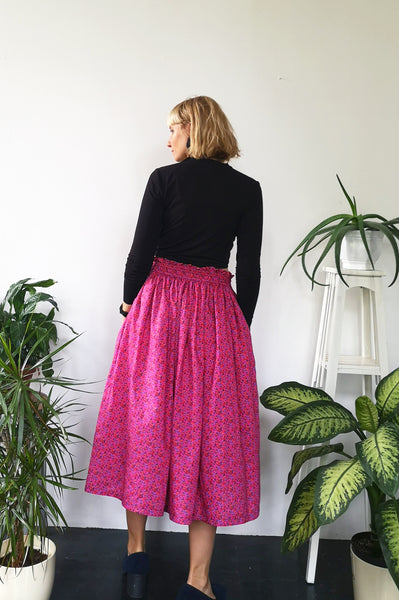 Fun, Feminine and Super Versetile Minimalist lifestyle Horse Patterned Hot Pink Cotton Midi Skirt!