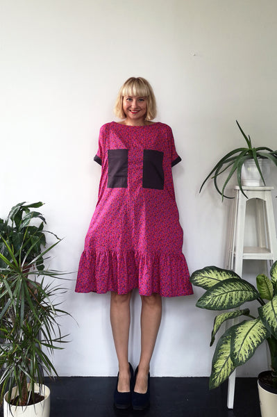 Oversized and fun Hot Pink Horse Patterned Cotton Dress