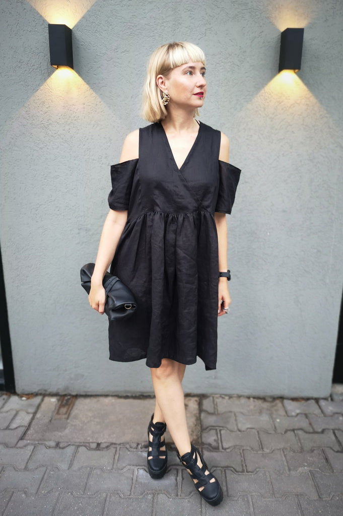 86567d9153468 Oversized Black Linen Dress for every occasion of your life. Black Mini  Dress for Every Season.