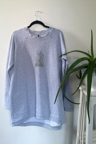 "Light Grey Long and Warm Unisex Statement Sweater with Lucky Cat - Maneki-Neko Print ""Somebody's Lucky Cat"""