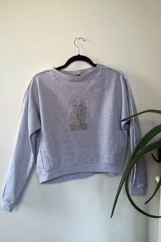 "Long Sleeve Warm Light Grey Women's Sweater with Maneki-Neko Print ""Somebody's Lucky Cat"""