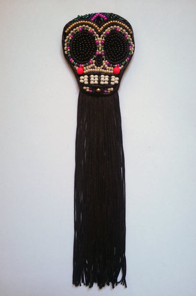 Day of Dead inspired Black Fringe Small Sugarskull with pink and gold details
