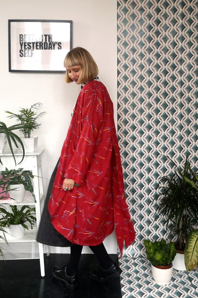 Vintage 90's Style Graphic Designer and Artist Colorful Pencil Print Oversized Transformer Kimono - Dress and Summer Coat