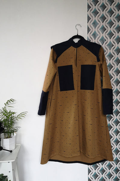 Space warrior Princess Mustard Yellow Heavy Cotton Shirt Dress with Navy Blue Linen details