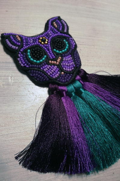 Magical and Fun Ovrsized Statement cat Brooch with Colorful Tassels in Violet and Teal