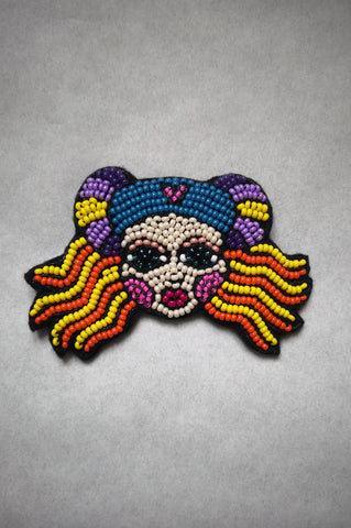 "Colorful Beaded oversized statement brooch ""The Heroine/ Lāčplēsene"""