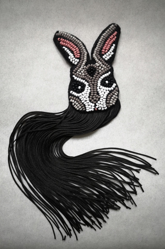Fun and Elegant Grey and Black Rabbit Brooch