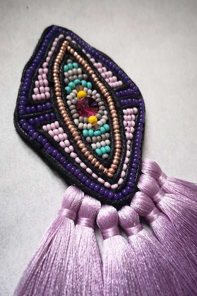 Fun but Elegant Oversized Rhombus Brooch with Pink Swarovski Cystal and Lavender Magenta Pink Tassels