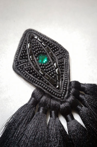 Black Rhobus Brooch with Emerald Green Swarovski Crystal and Black Tassels