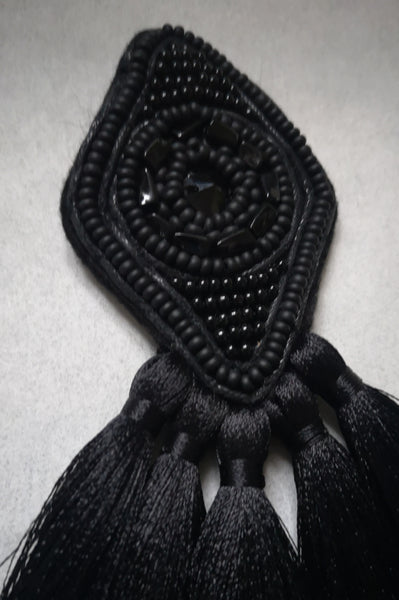 Small and Elegant Black Rhombus Brooch with Black Tassels