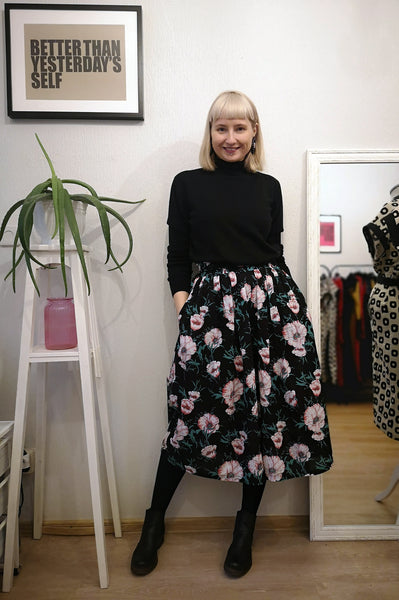 Black Cotton and Linen Blend Spring/ Summer Culottes with Beautiful Flower Print. Perfect for Active Beauty Loving Woman