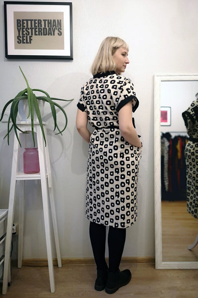 New Summer Safari Style Kimono Dress/ Vest made of Patterned and Black linen.