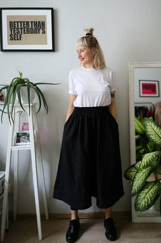 Black Linen Super Wide Statement Japanese Inspired Minimalist Culottes