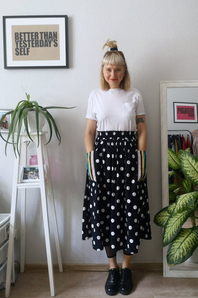 Fun, Comfy and Versatile Special Design Wide Midi Skirt in Dark Blue Polka Dot Print with Contrasting Striped Pockets in One Size Fits All Wide Cotton Skirt - A Minimalist Dream