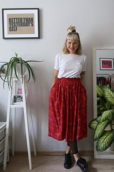 Vintage 90's Style Graphic Designer and Artist Colorful Pencil Print One Size Fits All Wide Skirt - A Minimalist Dream