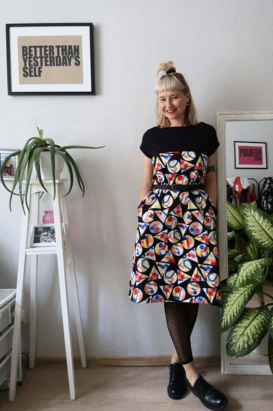 Fun, Strong and Colorful Cotton Summer Dress With Geometric Print