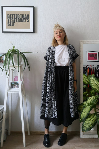 Summer Kimono Dress/ Vest with Wide Skirt Detail made from Black and White paterned cotton.