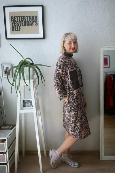 Beautiful, Comfortable, Easy to Wear and Versetile Oversized Shirt Dress in Millenial Pink and Dark Green Jungle Print in Linen - Cotton blend Fabric