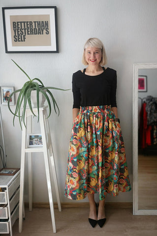 Colorful, Bright Flower Patterned Print One Size Fits All Wide Colorful Skirt with Pockets - A Minimalist Dream