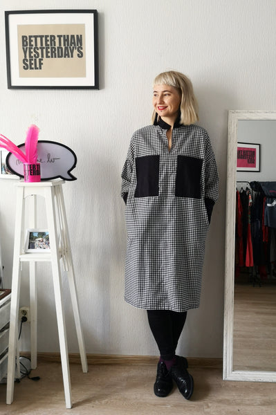 Oversized Statement Shirt Dress in Black and White Check Print and  Full Lenght Statement Sleves