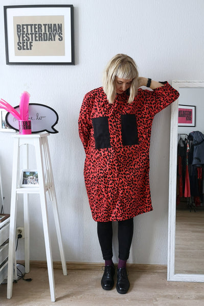 Cool, Fun, Strong and Versetile Oversized Shirt Dress in Red Animal Print Cotton Fabric.