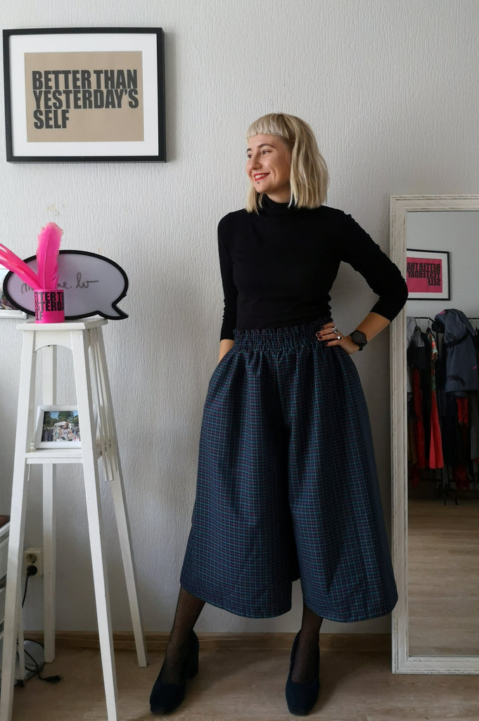 Super Wide One of a Kind Wool Blend Tartan Print in Bright Blue, Pink and Sea Green Tones Culottes