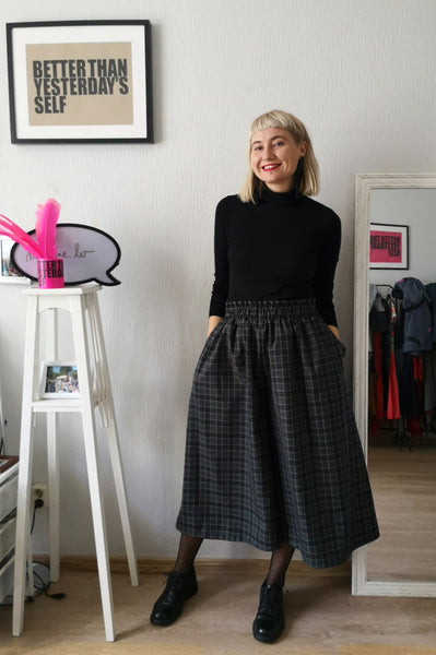 Super Wide One of a Kind Wool Blend Tartan Print in Forest Green, Grey, Black and Red Tones Culottes