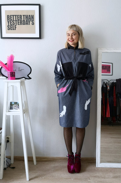 Super Special Hand Screenprinted from Original Dawings by Artist Sabine Vekmane Dark Grey Cotton Oversized Shirt Dress with Oversized Black Ornamental Block Pockets in Front, Black  Fabric Belt and Invisible Side Pockets