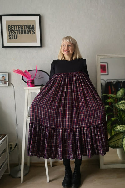 Fun, Comfy and Romantic Ruffle Dress with Beautiful Tartan Pattern Cotton Fabric and 3/4 Sleeves
