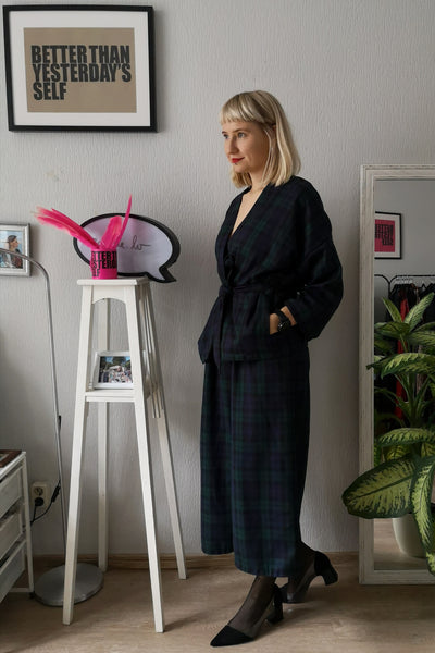 Elegant and Super Cool Wool Blend Tartan suit With Wide Culottes and Kimono Style Jacket