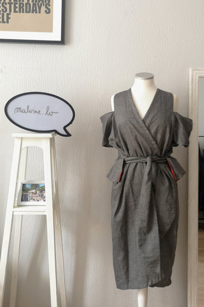 Transformer piece for all seasons - Cold Shoulder Grey Linen kimono wrap dress with Bright Red Linen Details