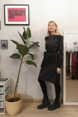 Straight Cut Space Warrior Princess Dress with oversized pockets in  Grey Light Wool Blend Herringbone Patterned Fabric Mixed With Darker Grey Cotton Fabric.