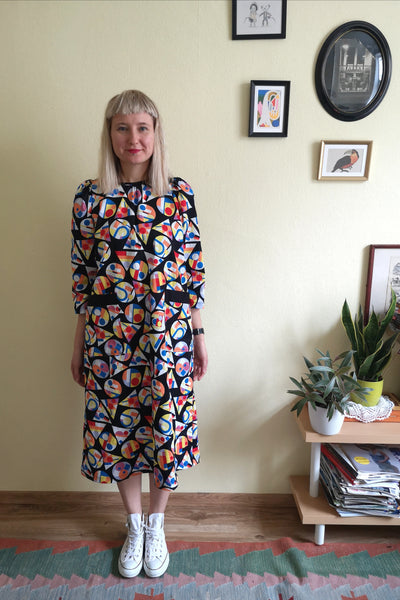 70s Inspired Super Colorful Geometrical Patterned Midi Dress with Puff Sleeves and Ornamental and Practical Pockets in Cotton Fabric