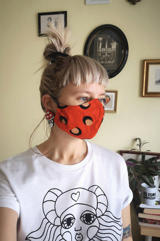Reusable 100% cotton/ linen face masks - size Medium (women/ smaller face adults/ young adults/ teenagers))