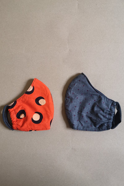 Reusable 100% cotton/ linen face masks - size Small (kids age 7 - 12 yo)