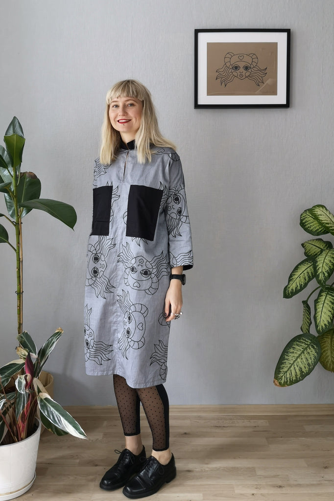 "Beautiful, Comfortable, Versatile Oversized Shirt Dress ""Bell Hooks"" made in Grey Lāčplēsene patterned Cotton fabric."