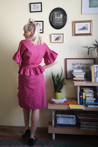 Fun and Feminine Bright Pink Patterned Cotton Wrap Dress with Ruffle and Special Ruffle Belt