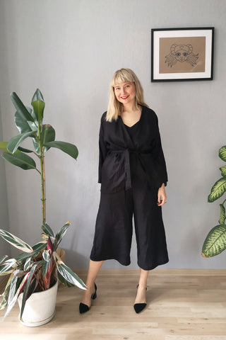 Kimono and Minimalist inspired Black Linen Power Suite