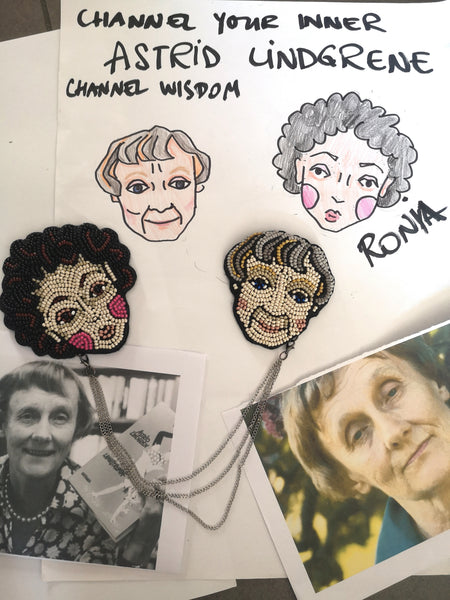 "Oversized Double Chain Brooch ""Channel Your Inner Astrid Lindgrene. Channel Wisdom"" with Ronia the Robbers Daughter"