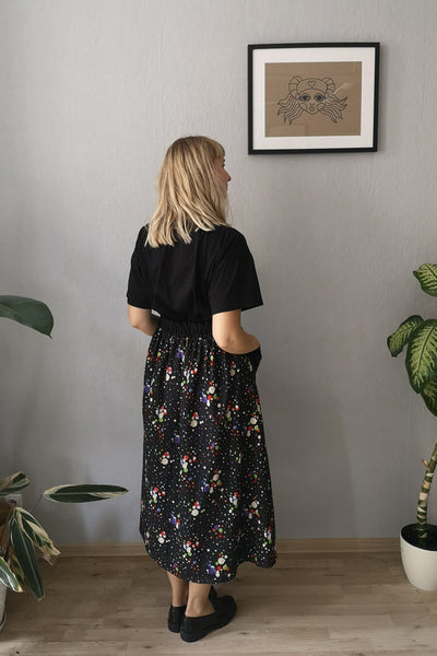Fun, Comfy and Versatile Special Design Wide Midi Skirt in Black Cotton Fabric with Colorful Dots and Contrasting Black Pockets in One Size Fits Most- A Minimalist Dream