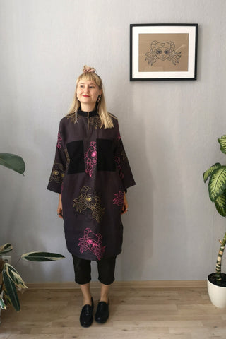 "Beautiful, Comfortable, Versatile Oversized Shirt Dress ""Bell Hooks"" made in Aubragine Color Lāčplēsene patterned Linen fabric."