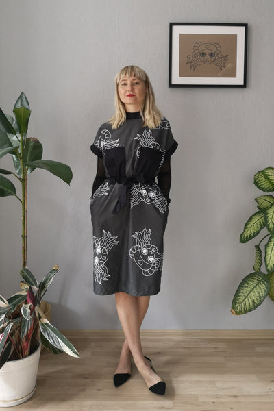 Zaha Hadid - Dark Grey Straight Oversized Short Sleeved Cotton Dress with Pockets, White Hand printed Heroine Lāčplēsene Pattern and Sexy Back Detail for All Seasons